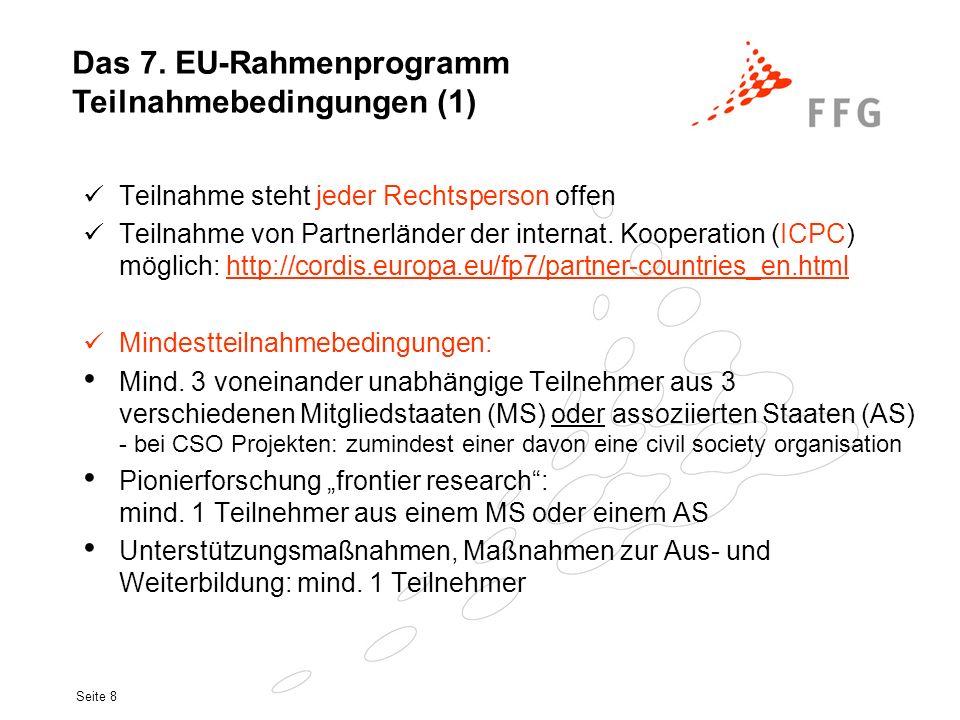 Das 7. EU-Rahmenprogramm Teilnahmebedingungen (1)