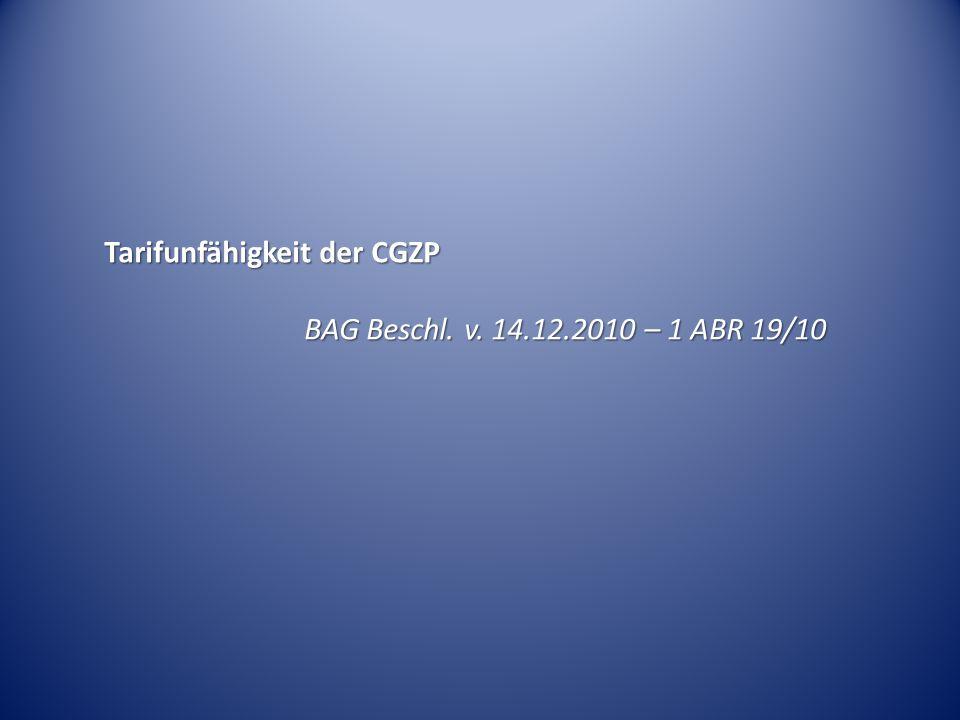 Tarifunfähigkeit der CGZP