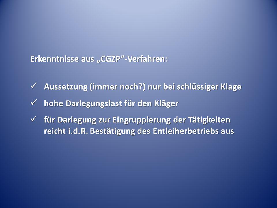 """Erkenntnisse aus """"CGZP -Verfahren:"""