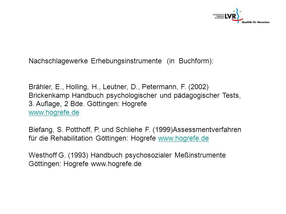 Nachschlagewerke Erhebungsinstrumente (in Buchform):