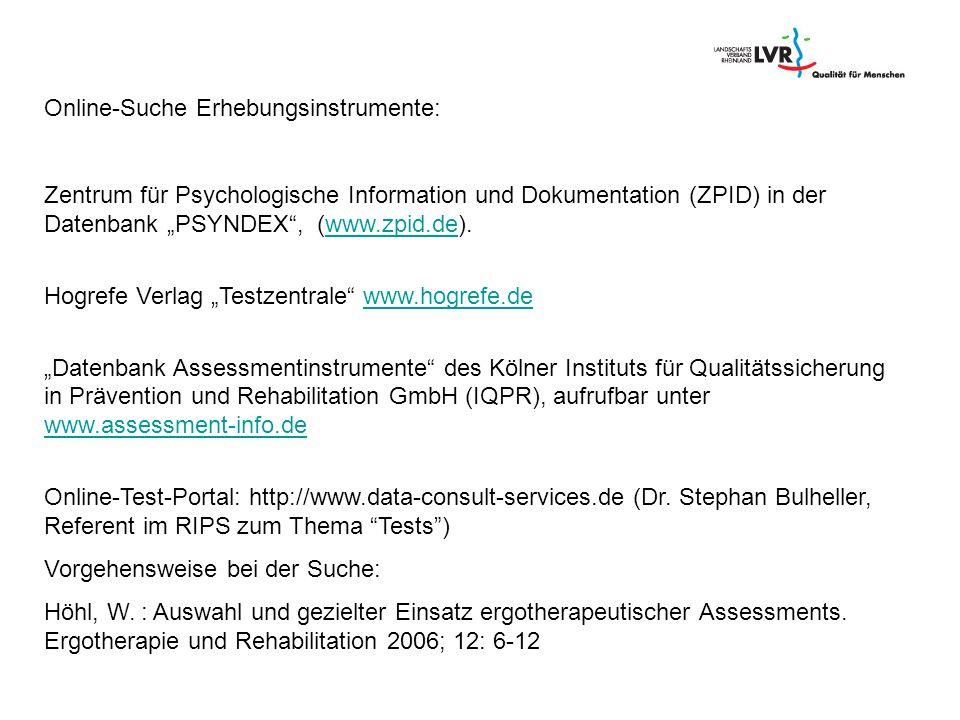Online-Suche Erhebungsinstrumente: