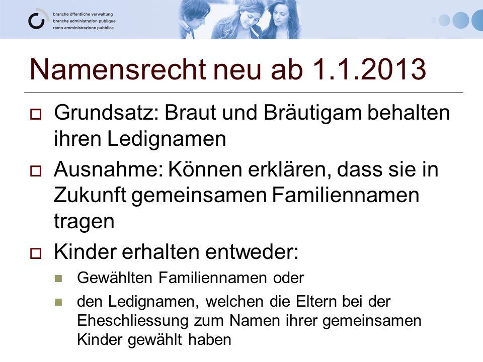 Namensrecht neu ab 1.1.2013 Grundsatz: Braut und Bräutigam behalten ihren Ledignamen.
