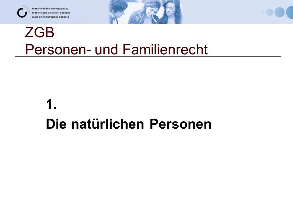 ZGB Personen- und Familienrecht
