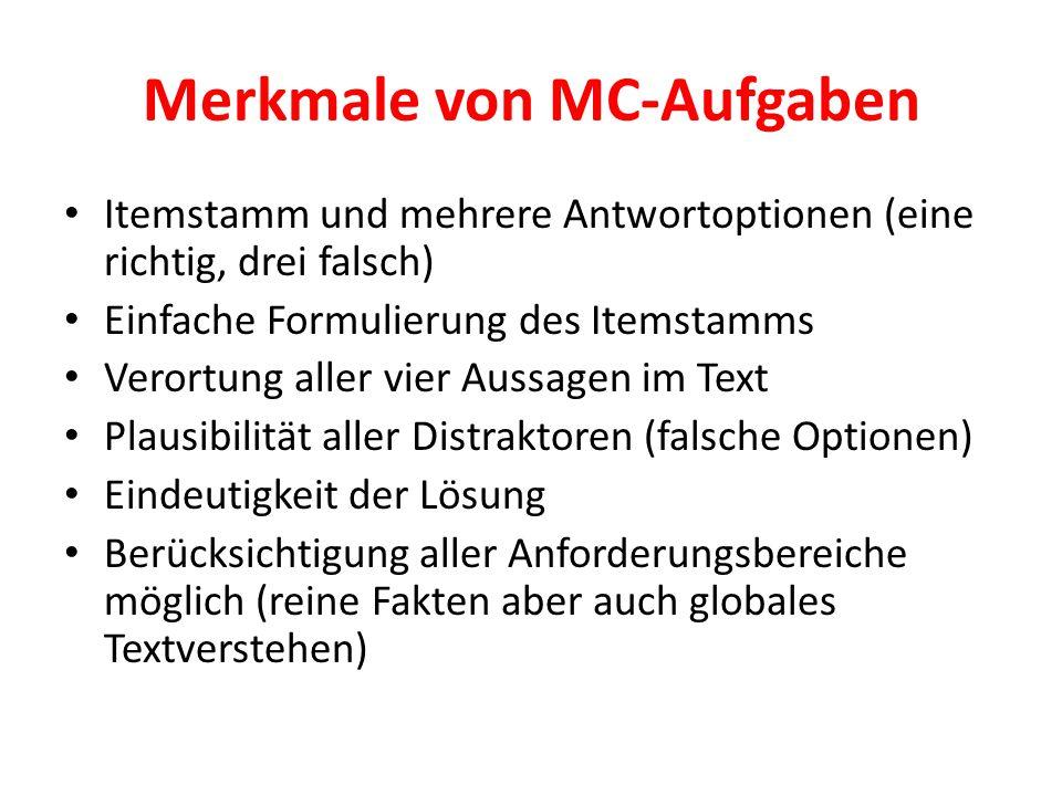 Merkmale von MC-Aufgaben