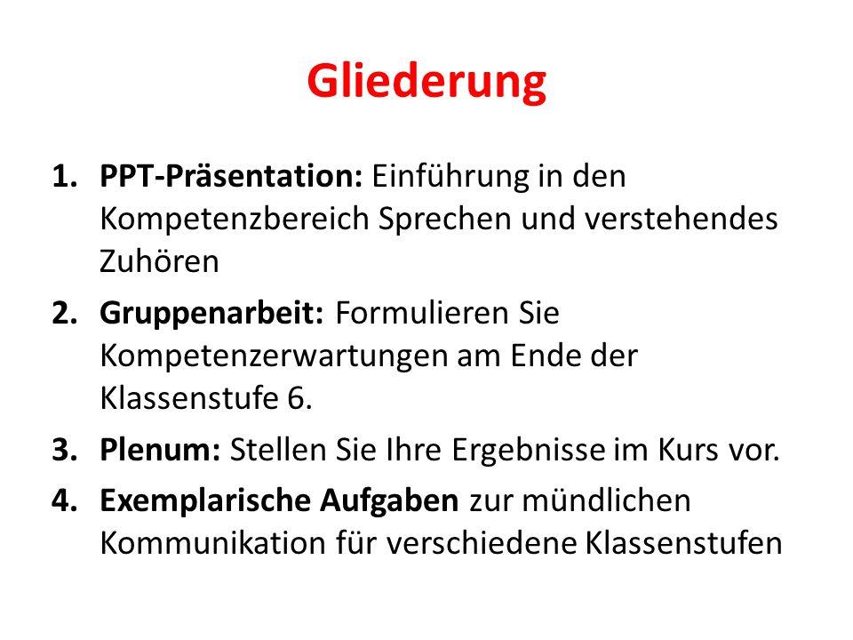 Gliederung PPT-Präsentation: Einführung in den Kompetenzbereich Sprechen und verstehendes Zuhören.