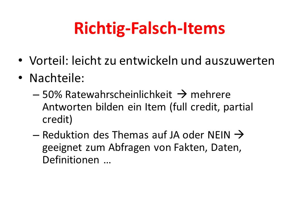 Richtig-Falsch-Items