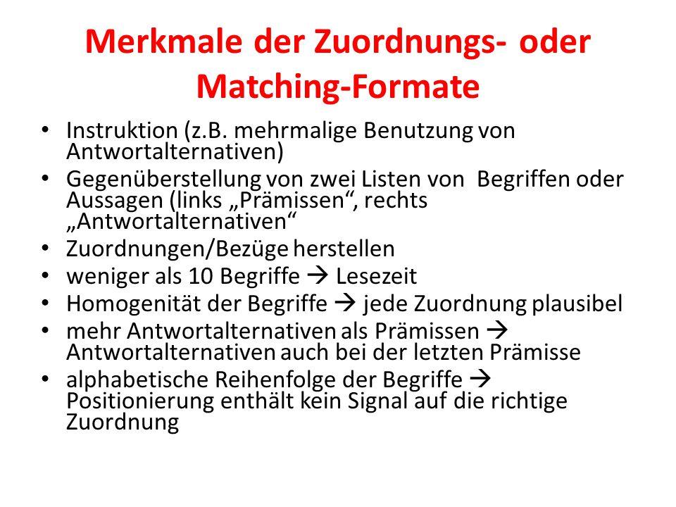 Merkmale der Zuordnungs- oder Matching-Formate