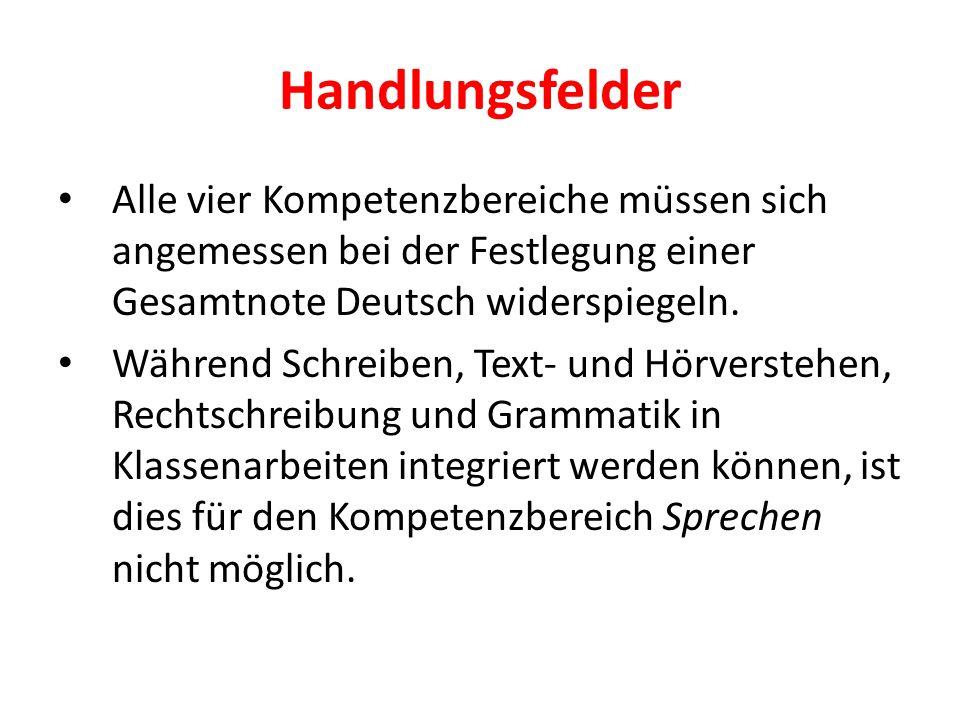 Handlungsfelder Alle vier Kompetenzbereiche müssen sich angemessen bei der Festlegung einer Gesamtnote Deutsch widerspiegeln.
