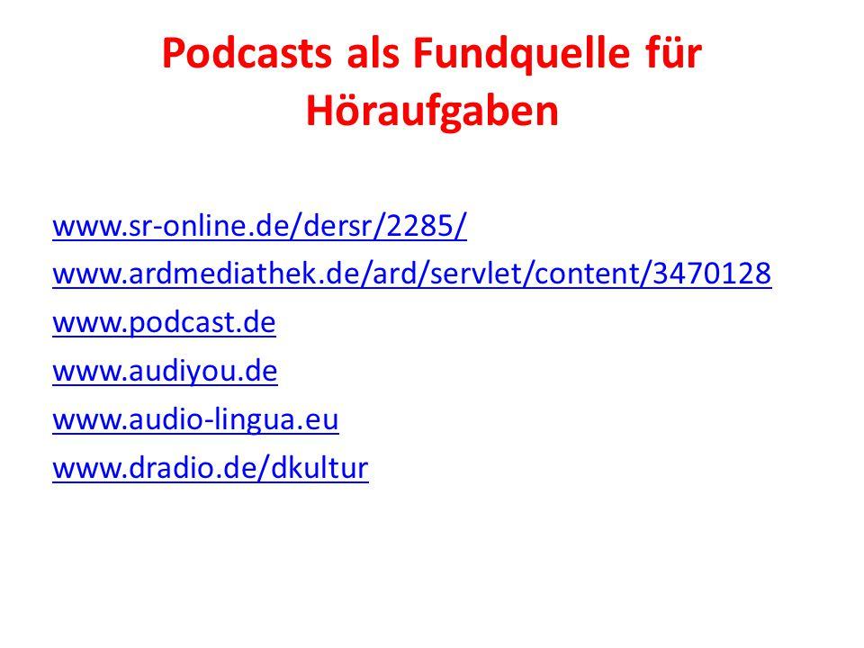 Podcasts als Fundquelle für Höraufgaben