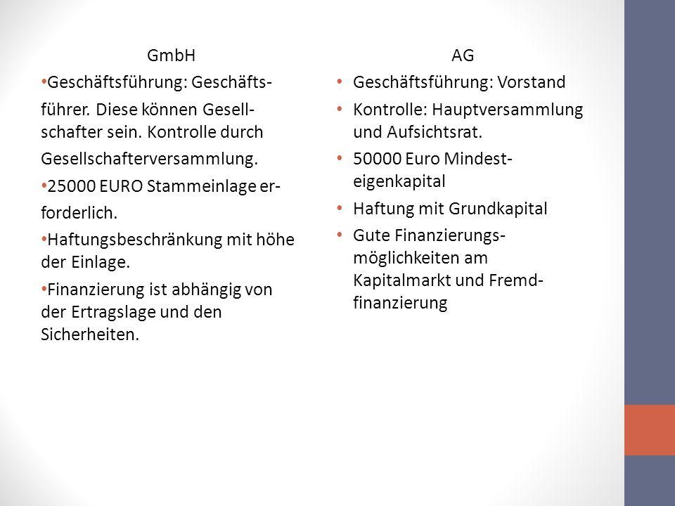 GmbH Geschäftsführung: Geschäfts- führer. Diese können Gesell-schafter sein. Kontrolle durch. Gesellschafterversammlung.