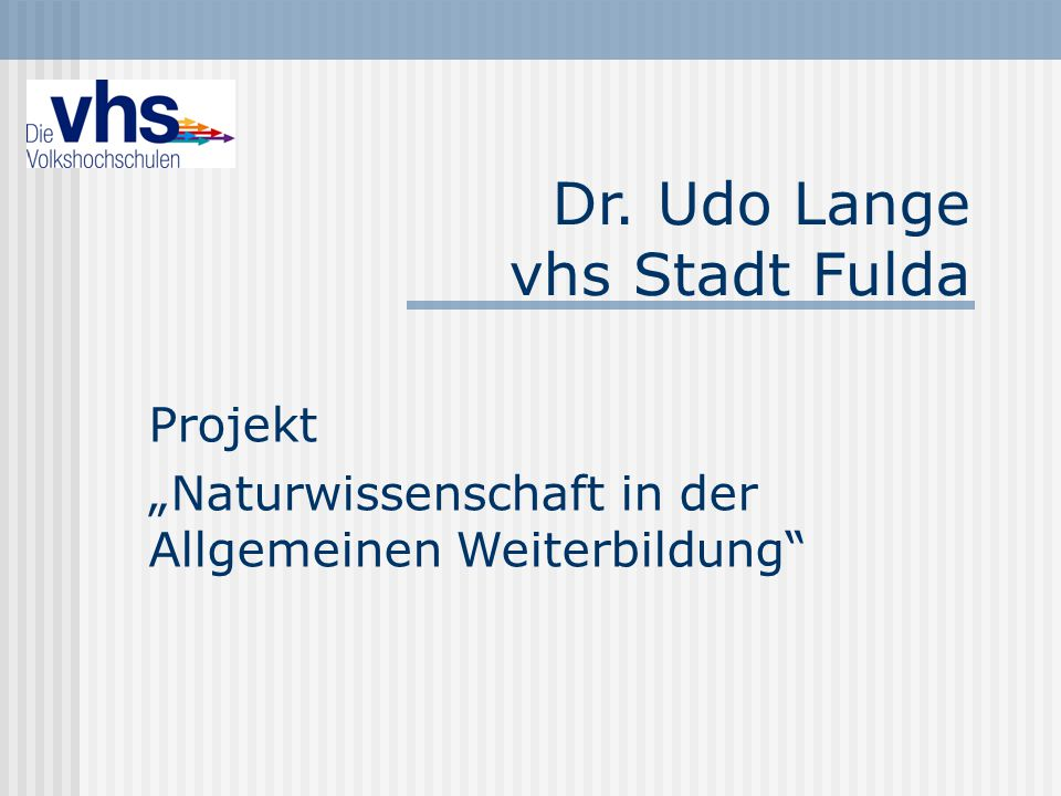 Dr. Udo Lange vhs Stadt Fulda