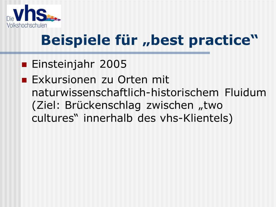 """Beispiele für """"best practice"""