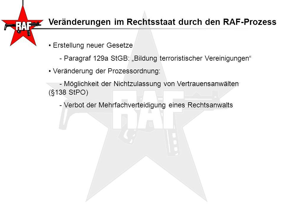 Veränderungen im Rechtsstaat durch den RAF-Prozess