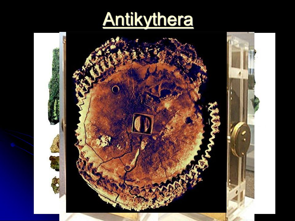 Antikythera Ca. 85 v. Chr. Schiff sinkt auf dem Weg von Pergamon und Rhodos nach Rom vor Antikythera. 1901 finden Schwammtaucher das Wrack.