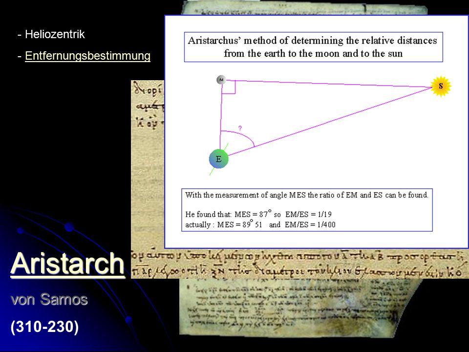 Aristarch von Samos (310-230) Heliozentrik Entfernungsbestimmung
