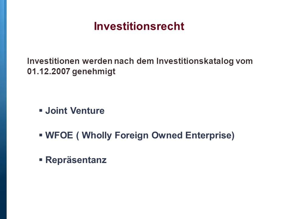 Investitionsrecht Joint Venture
