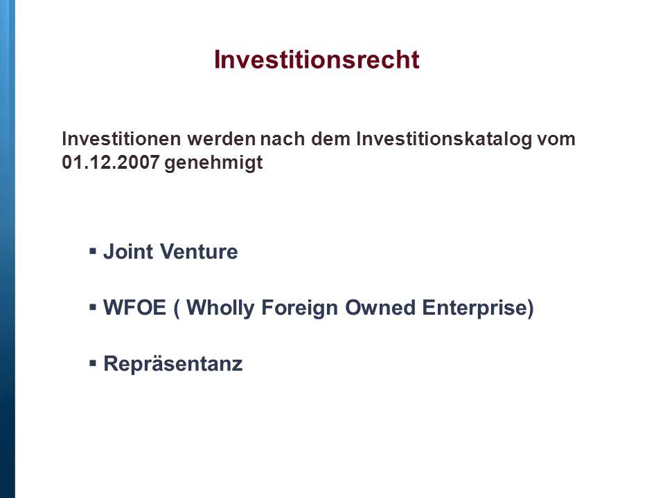 Investitionsrecht Joint Venture