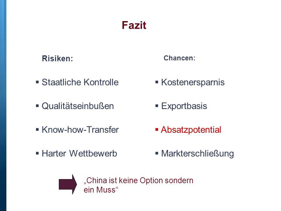 Fazit Staatliche Kontrolle Qualitätseinbußen Know-how-Transfer