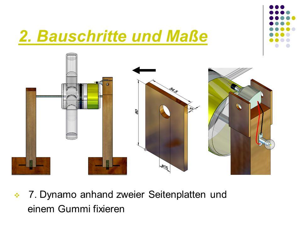2. Bauschritte und Maße 7. Dynamo anhand zweier Seitenplatten und