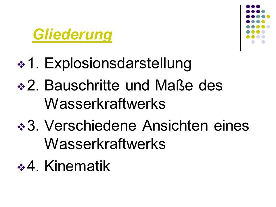 Gliederung 1. Explosionsdarstellung. 2. Bauschritte und Maße des Wasserkraftwerks. 3. Verschiedene Ansichten eines Wasserkraftwerks.