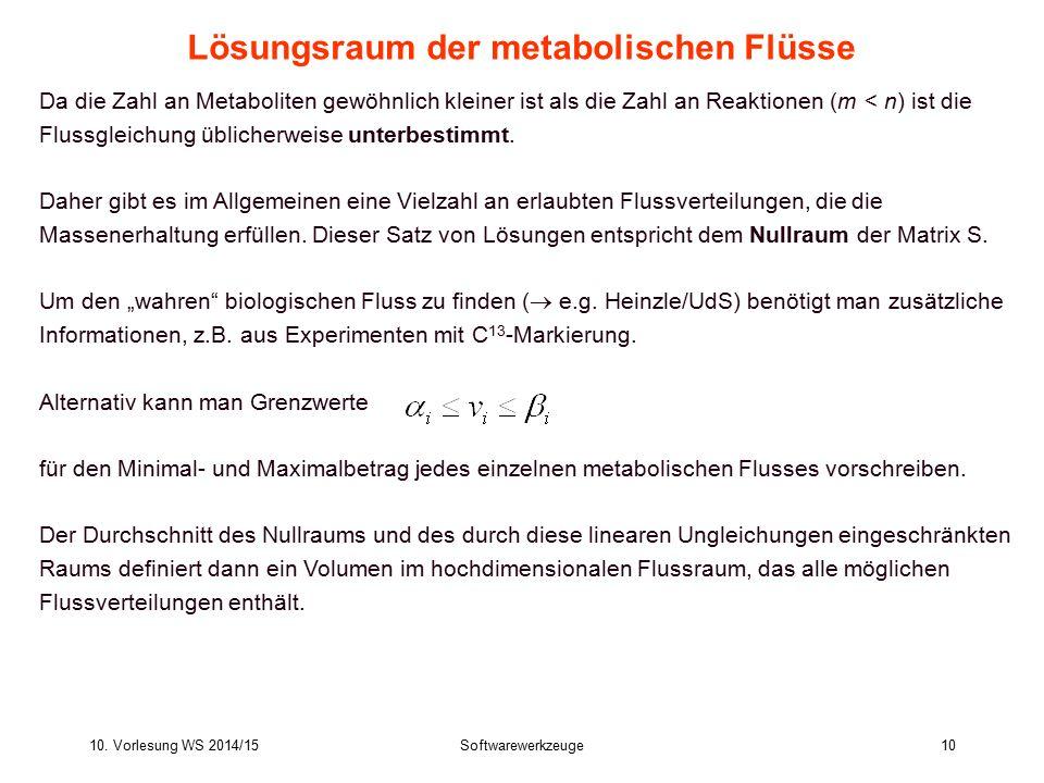 Lösungsraum der metabolischen Flüsse