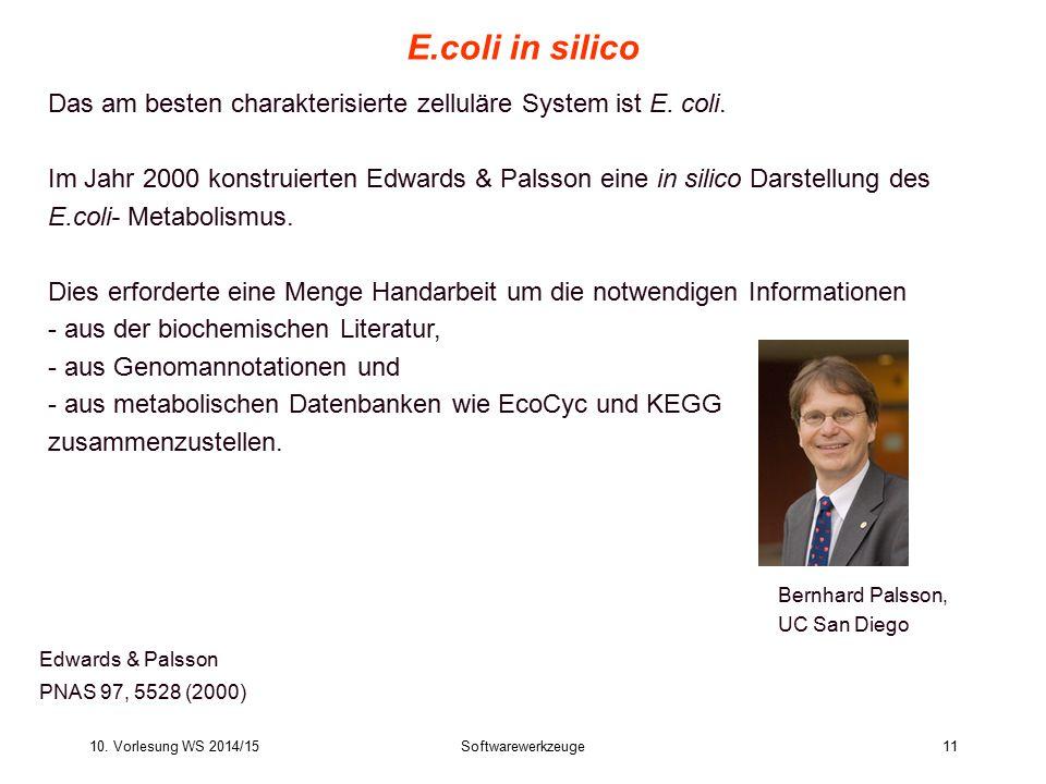 E.coli in silico Das am besten charakterisierte zelluläre System ist E. coli.