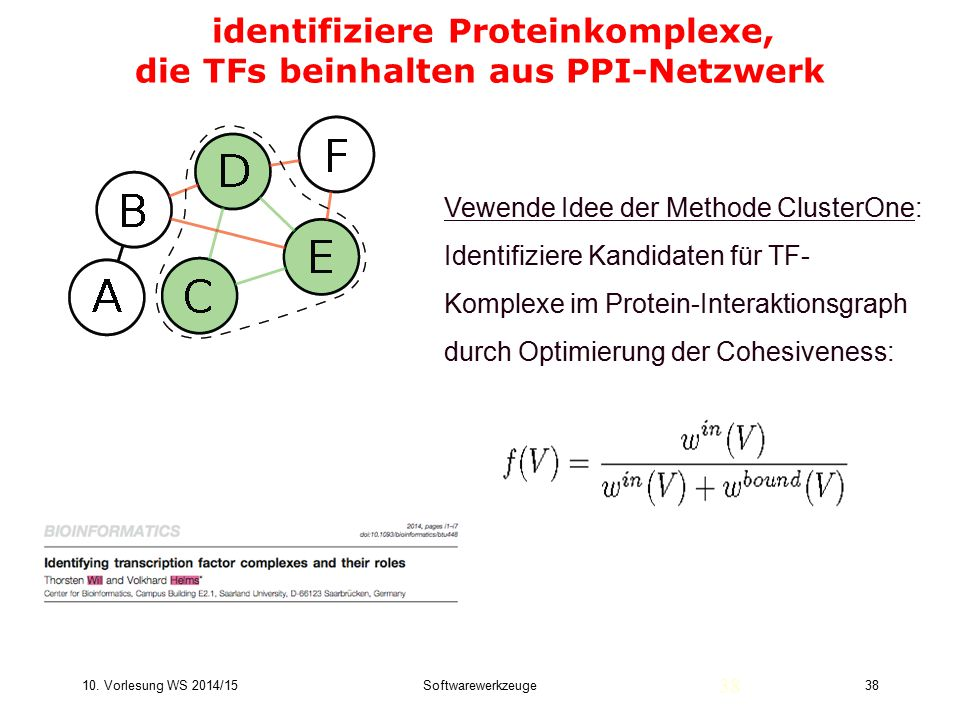 identifiziere Proteinkomplexe, die TFs beinhalten aus PPI-Netzwerk
