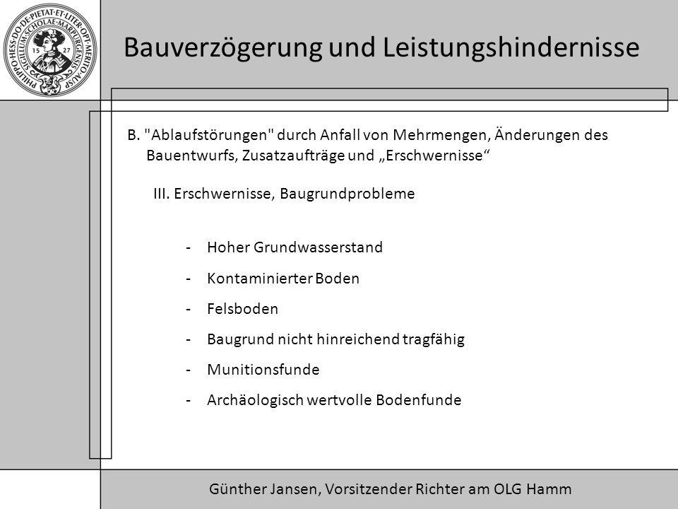 """B. Ablaufstörungen durch Anfall von Mehrmengen, Änderungen des Bauentwurfs, Zusatzaufträge und """"Erschwernisse"""
