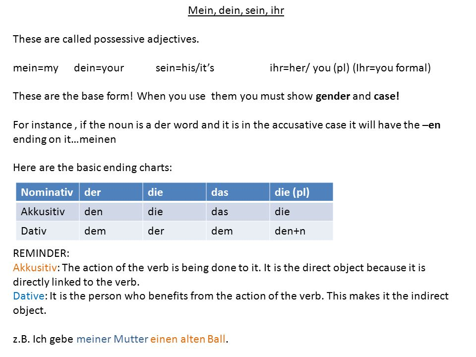 Mein, dein, sein, ihr These are called possessive adjectives. mein=my dein=your sein=his/it's ihr=her/ you (pl) (Ihr=you formal)