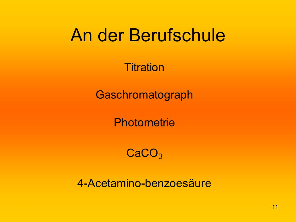 Titration Gaschromatograph Photometrie CaCO3 4-Acetamino-benzoesäure