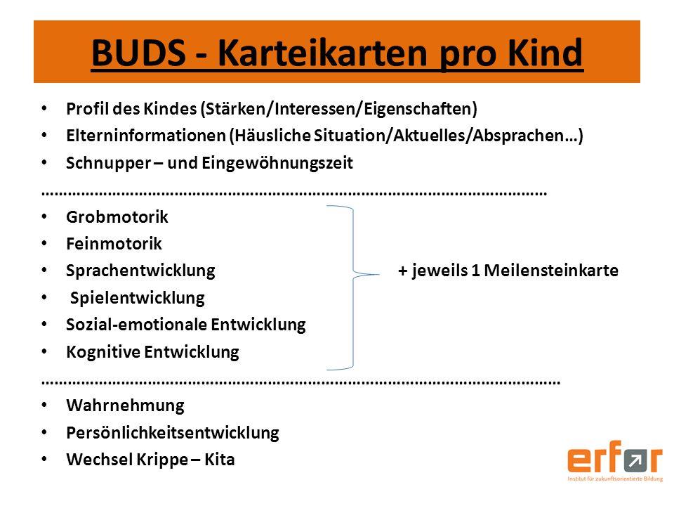 BUDS - Karteikarten pro Kind