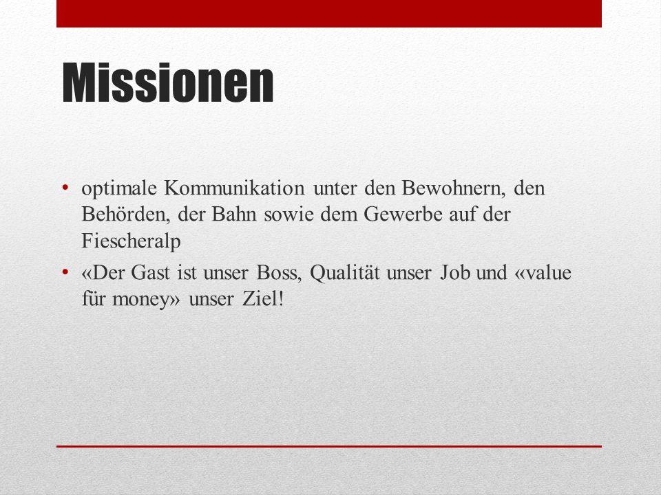 Missionen optimale Kommunikation unter den Bewohnern, den Behörden, der Bahn sowie dem Gewerbe auf der Fiescheralp.