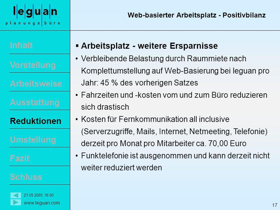 Web-basierter Arbeitsplatz - Positivbilanz
