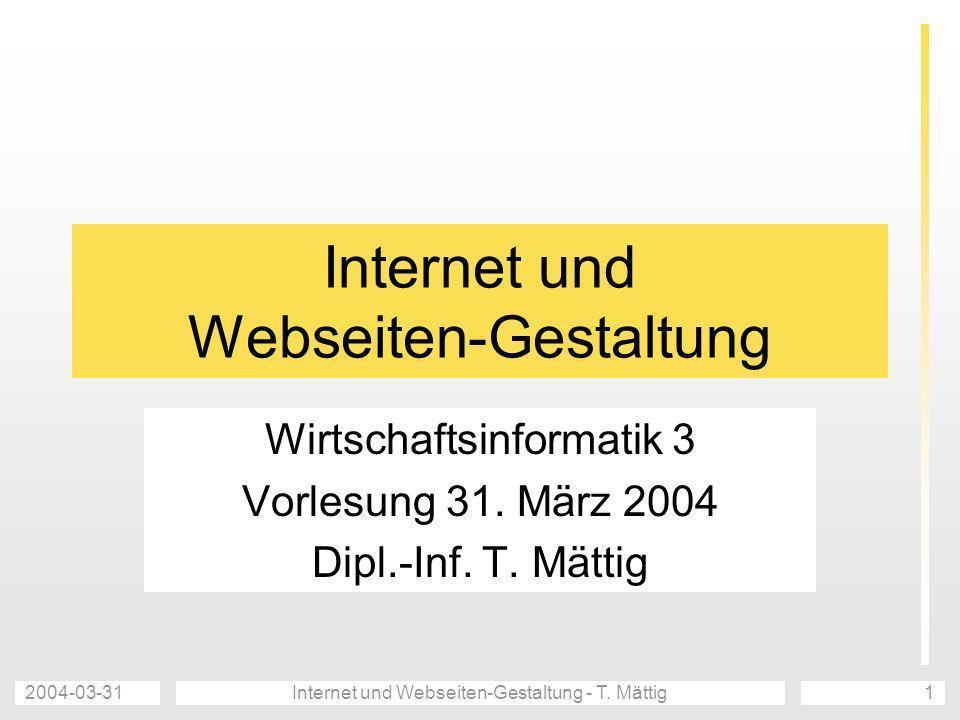 Internet und Webseiten-Gestaltung