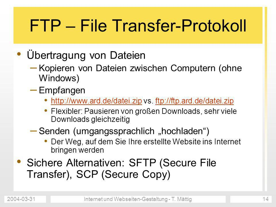 FTP – File Transfer-Protokoll