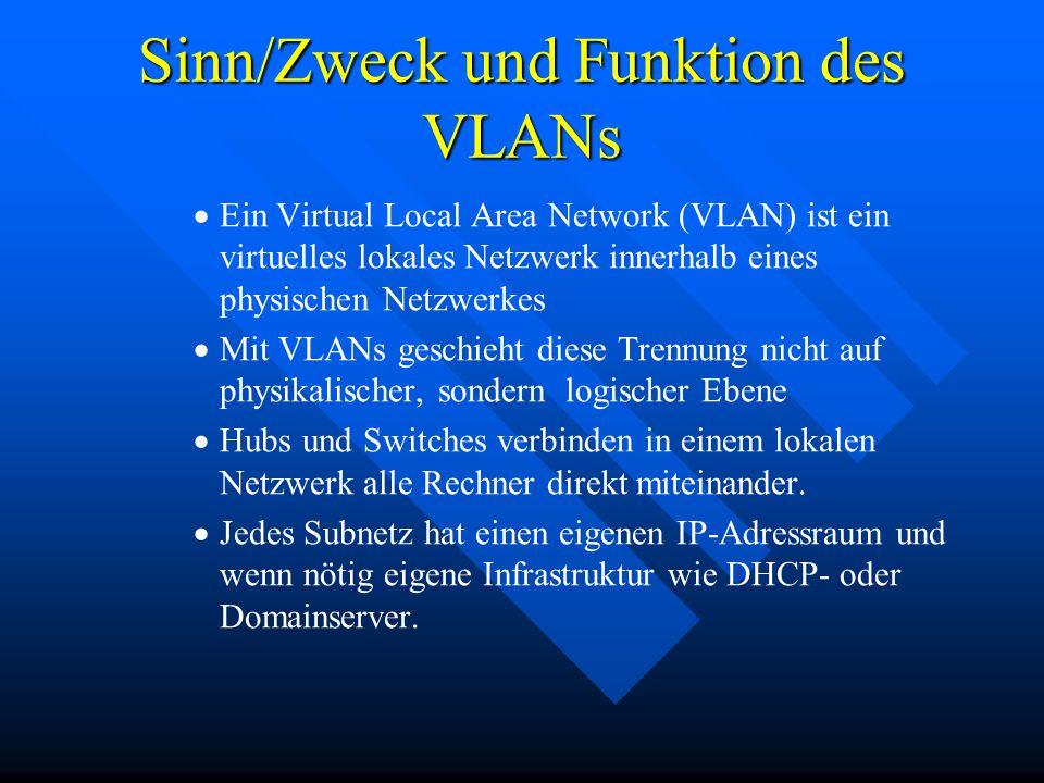 Sinn/Zweck und Funktion des VLANs