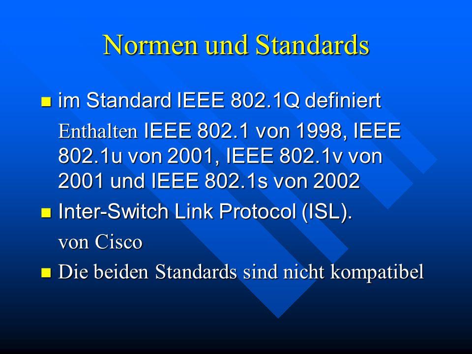 Normen und Standards im Standard IEEE 802.1Q definiert