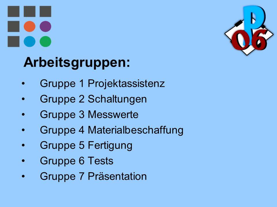 Arbeitsgruppen: Gruppe 1 Projektassistenz Gruppe 2 Schaltungen