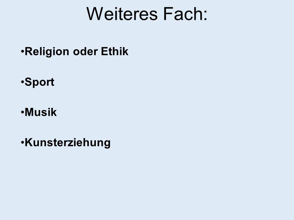 Weiteres Fach: Religion oder Ethik Sport Musik Kunsterziehung 15