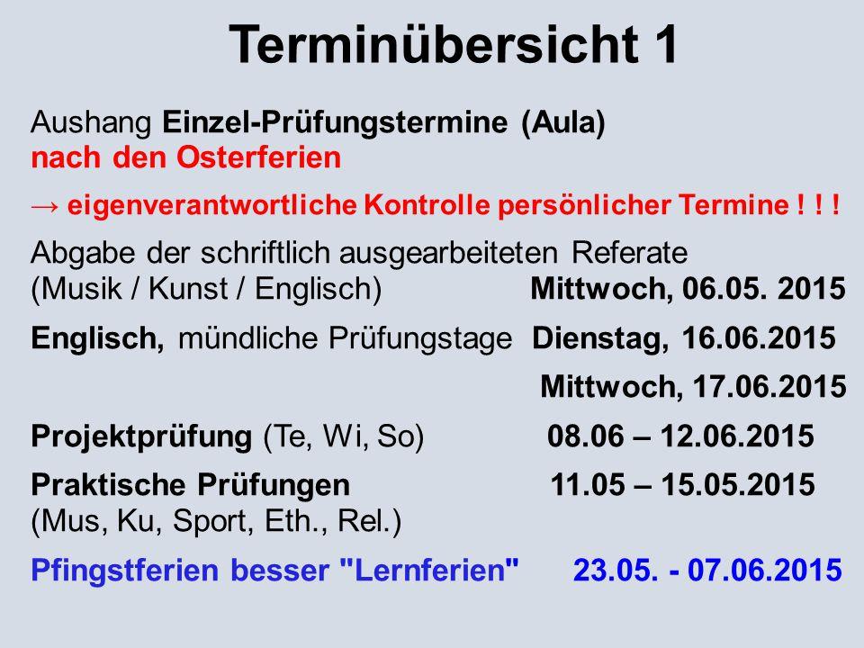 Terminübersicht 1 Aushang Einzel-Prüfungstermine (Aula) nach den Osterferien.
