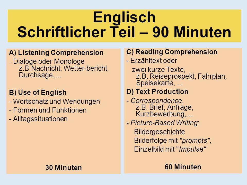 Englisch Schriftlicher Teil – 90 Minuten