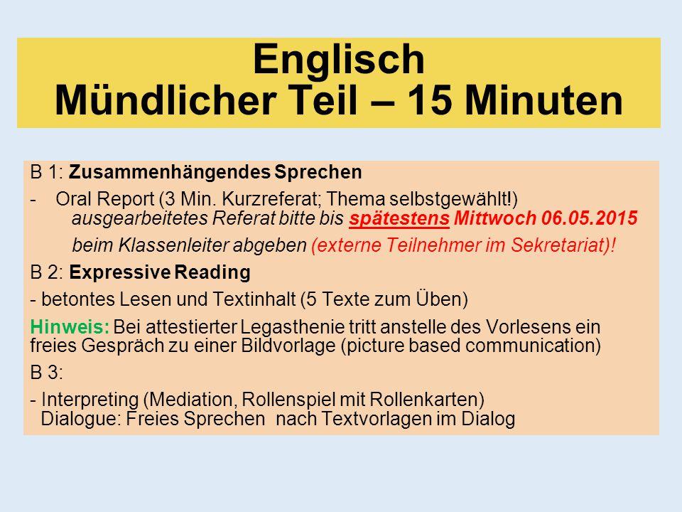 Englisch Mündlicher Teil – 15 Minuten