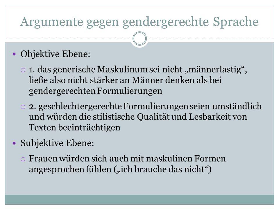 Argumente gegen gendergerechte Sprache