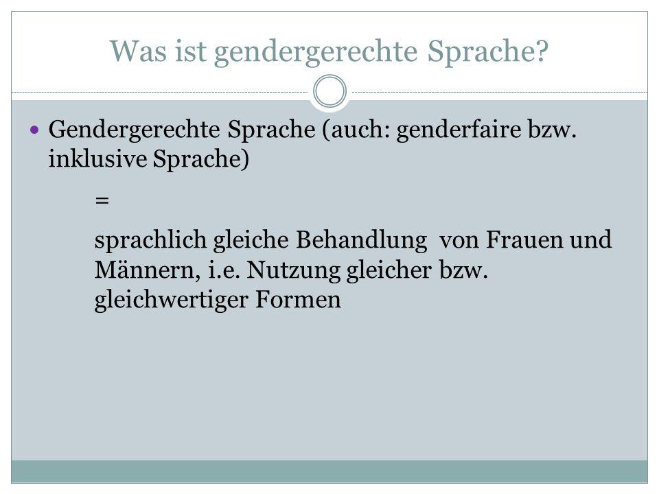 Was ist gendergerechte Sprache