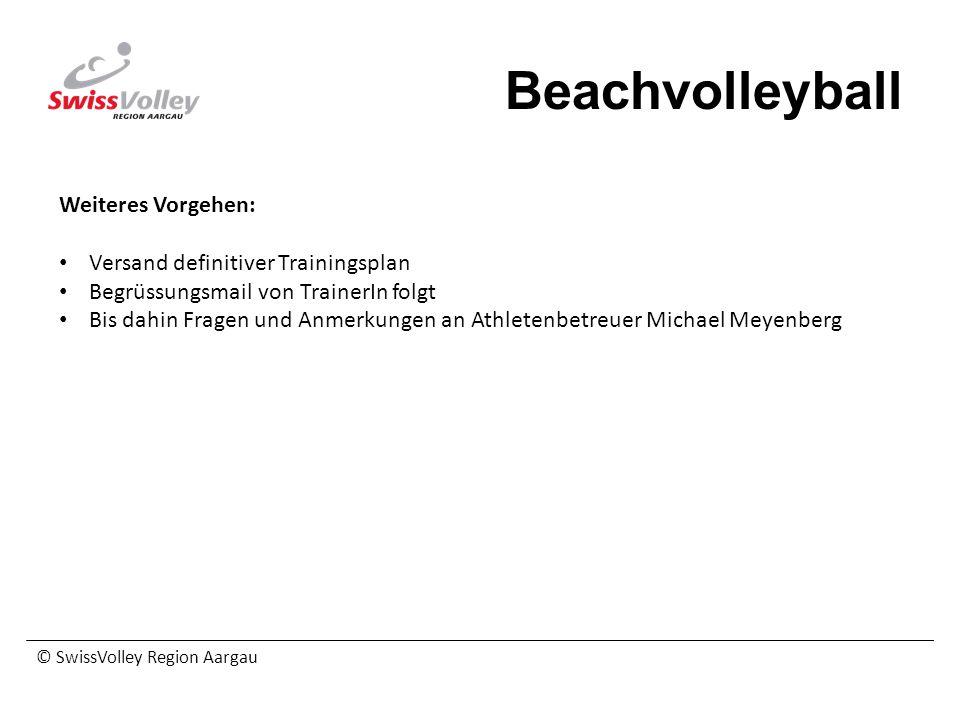 Beachvolleyball Weiteres Vorgehen: Versand definitiver Trainingsplan