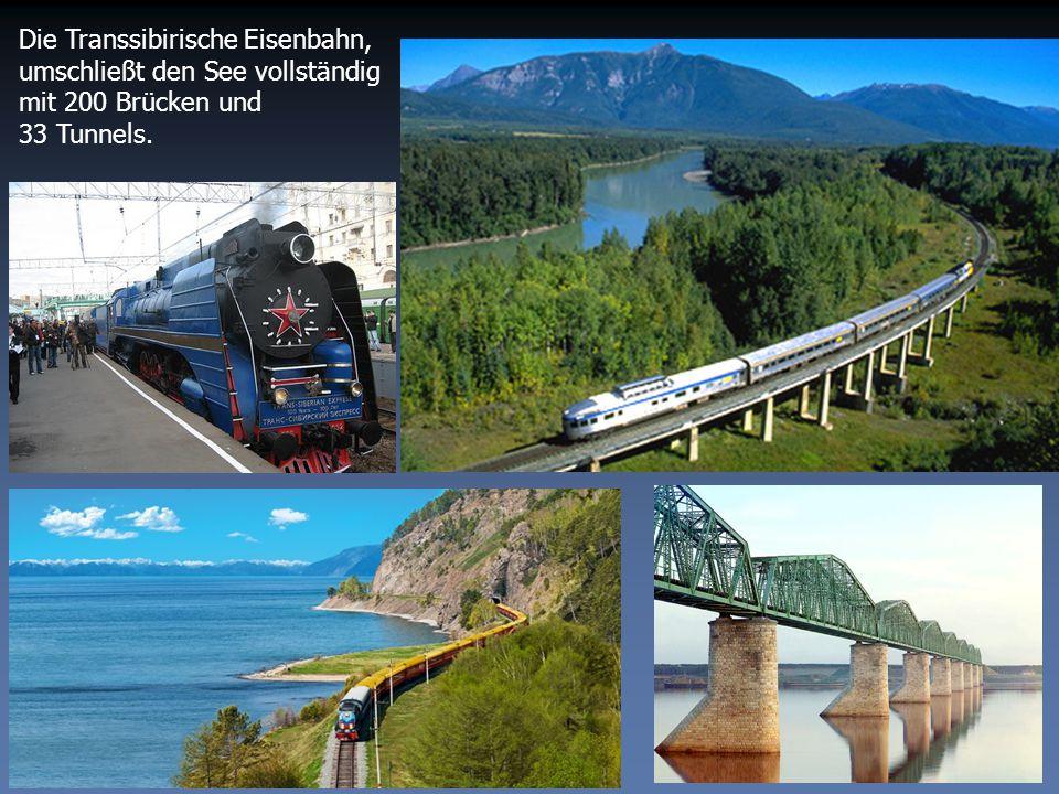 Die Transsibirische Eisenbahn, umschließt den See vollständig mit 200 Brücken und