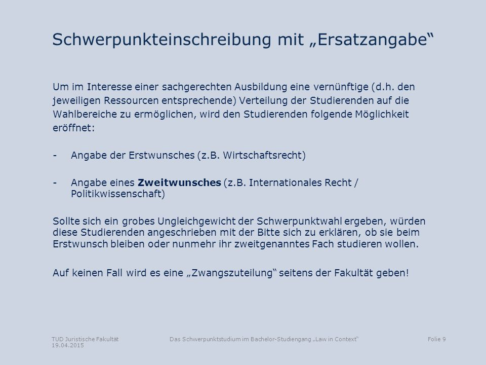 """Schwerpunkteinschreibung mit """"Ersatzangabe"""