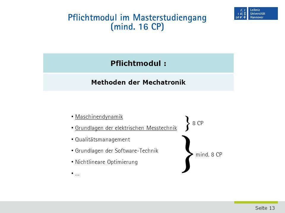 Pflichtmodul im Masterstudiengang (mind. 16 CP)