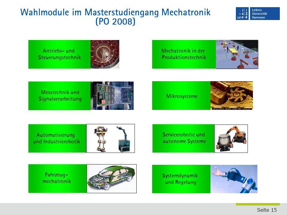Wahlmodule im Masterstudiengang Mechatronik (PO 2008)