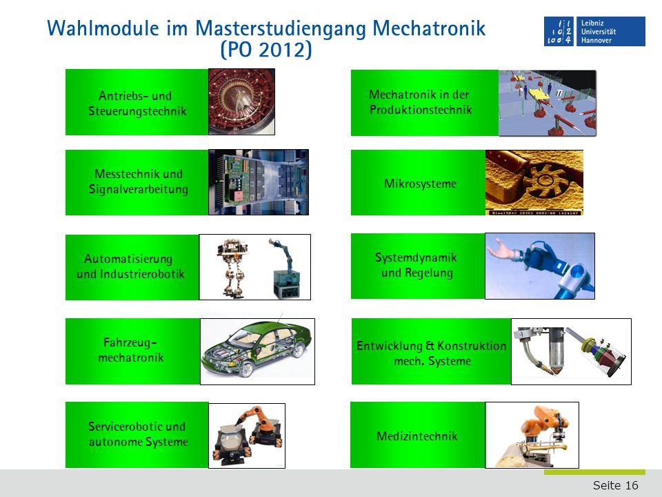 Wahlmodule im Masterstudiengang Mechatronik (PO 2012)